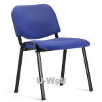 Fabric and four leg metal stacking chair S004 blue