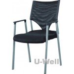 Mesh stacking guest chair with four leg and arm in black S012