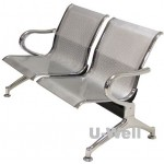 2seats metal waiting guest chair silver supplier, china factory US-W002