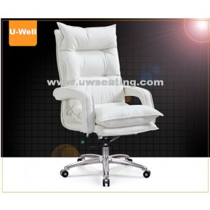 Comfort High Back Leather Executive Boss Office Chair White