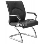 Mid back leather reception chair with chrome base