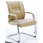 Mid back leather sled office meeting chair