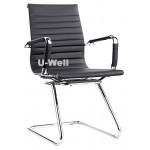 Modern leather meeting sled chair black