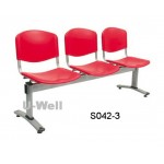 3seats plastic with metal steel chair S042-3