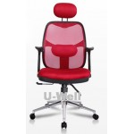 red mesh armrest computer chair with chrome base M312C RED