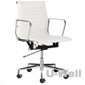 Top management midback leather aluminum armrest eames home office chair white