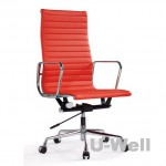 Red leather aluminum management high back eames boss chair