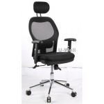 High back black adjustable armrest executive mesh chair with chrome base