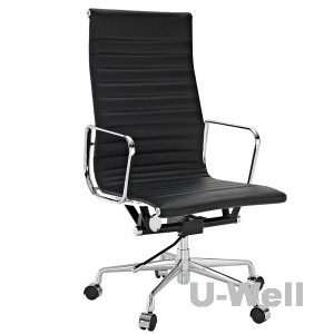 Popular Black Genuine Leather Ribbed High Back Office Chair