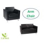 U Well Seating arm chair, black chrome