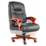 Black wood Leather boss chair