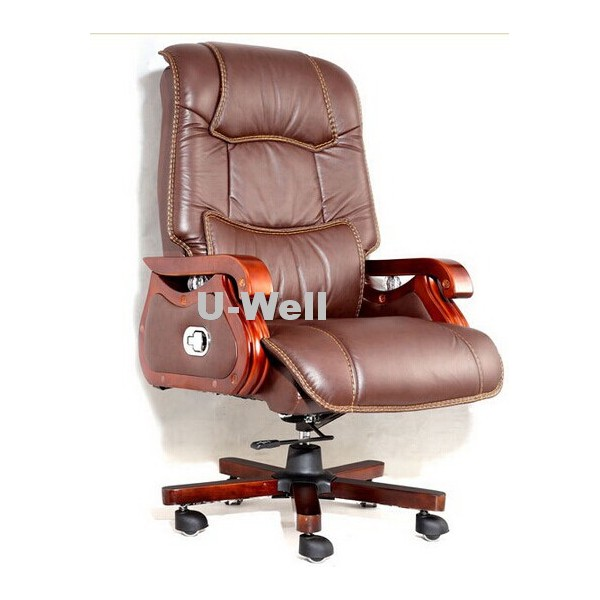 Black Wood Leather Boss Chair LW1003