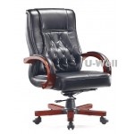 High back wood leather executive office chairs