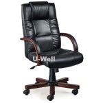 High back Leather Executive chairs with wood arm base