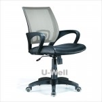 Mid back office computer desk mesh with PU chair grey black