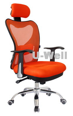 2014 hottest high back orange manager mesh office chair|u-well